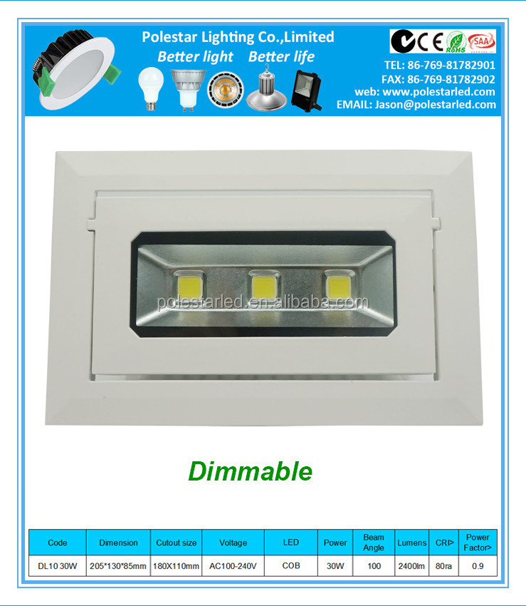 SAA CE RoHS Compliant MR16 haloge/Auatrali Cob CE Cutout 9anti-glare 30w COB LED downlight with SAA CE approval 3 Years Warranty