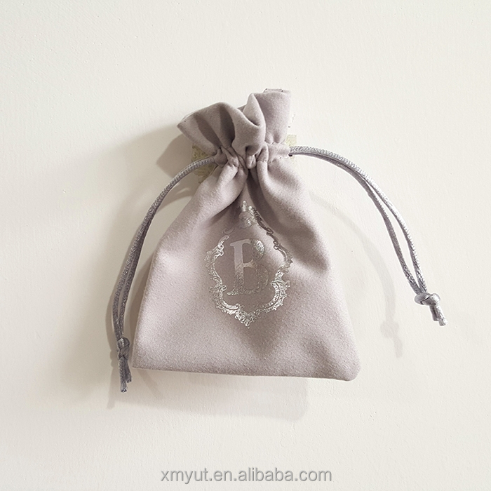 suede jewelry pouch/suede drawstring bag for gifts