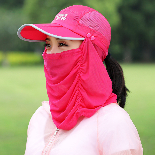 744c4119803 Fashion women summer Sports adjustable uv protection sun visor hat cap with  neck cover