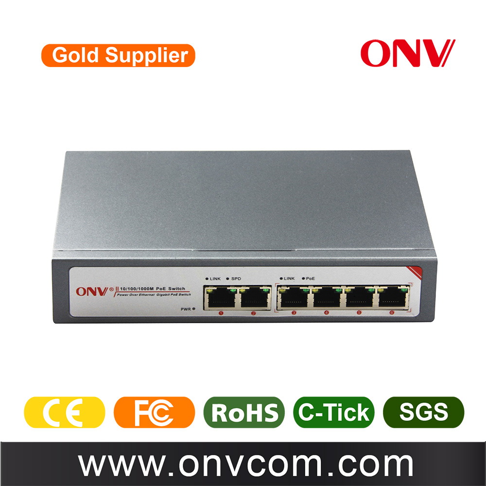 CCTV 6 port gigabit poe switch managed switch aggregat enterprise 4 gigabit poe ports