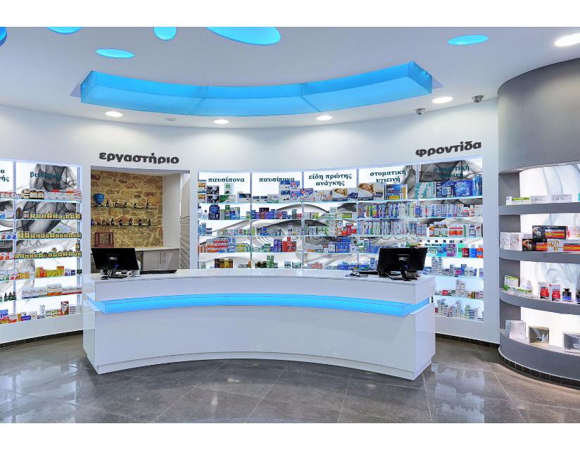 Modern pharmacy shop cashier checkout counter design for retail medical shop decoration
