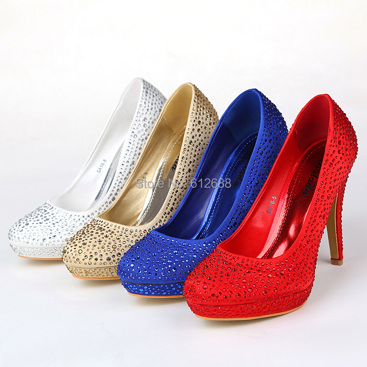 Get Quotations · Women Pumps Red Silver Royalblue Champagne Colors Prom  Evening Round Toe High Heels Rhinestone Women s Wedding 3af7ea4a1669
