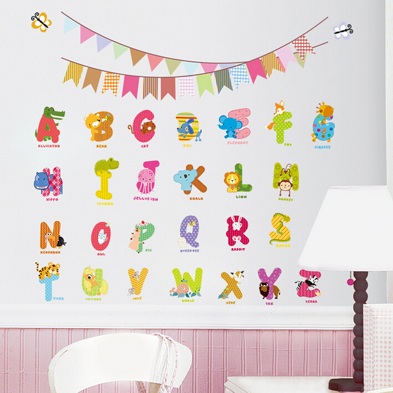 Kids Bedroom Decor 3d Cartoon Alphabet Stickers - Buy Alphabet ...