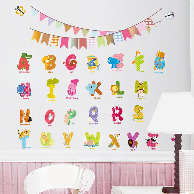 Kids Bedroom Decor 3d Cartoon Alphabet Stickers Buy Alphabet