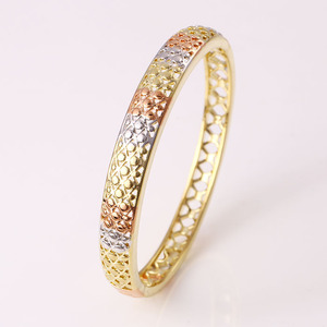 50885 xuping tri color single indian gold plated bangles designs