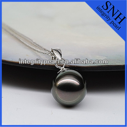 18K white gold Tahitian big pearl pendant necklace