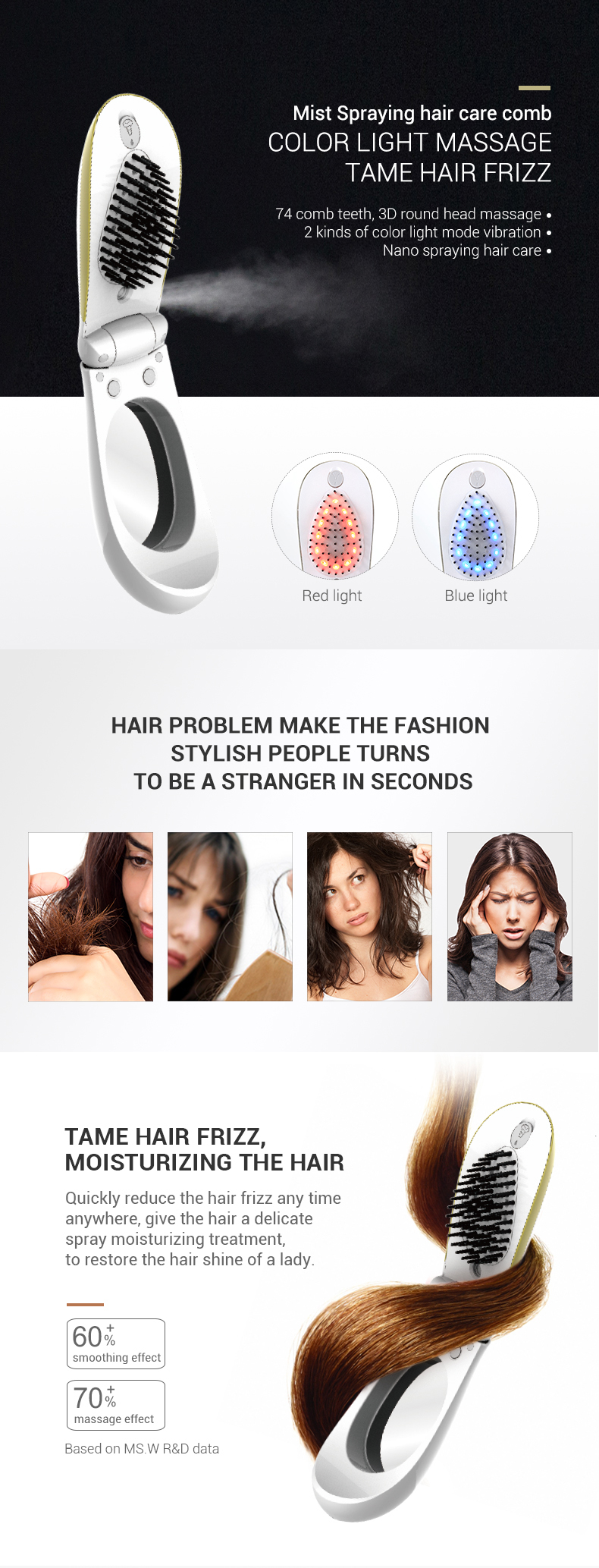 2020 steam hair care comb trimmer hair for women steam photon hair straightener
