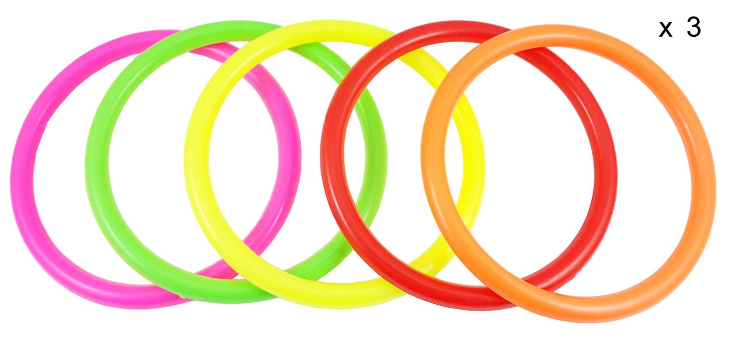 fushing 15pcs multicolor plastic toss rings for kids ring toss game speed and agility training