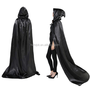 Halloween cosplay Costume Black Full Length Hooded Cape