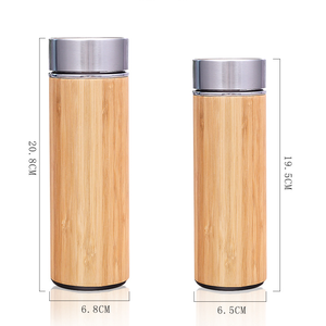 Zogift Insulated stainless steel coffee travel mug reusable bamboo water bottle tea infuser bottle tumbler