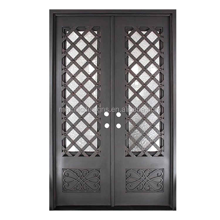 Modern House Door Entry Exterior Doors Double Tempered Glass Iron