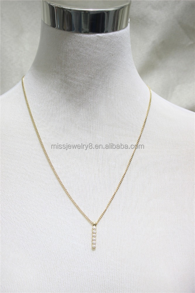 Cheap Short Chain Necklace w/ White Pearl In The BAR Necklace Simple Chain Gold Necklace2016 Fashion Style Wholesale