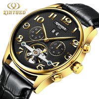 KINYUED J013 China Top Ten Selling Products Complete Calendar Mechanical Leather Buckle Gold Wrist Watch Men