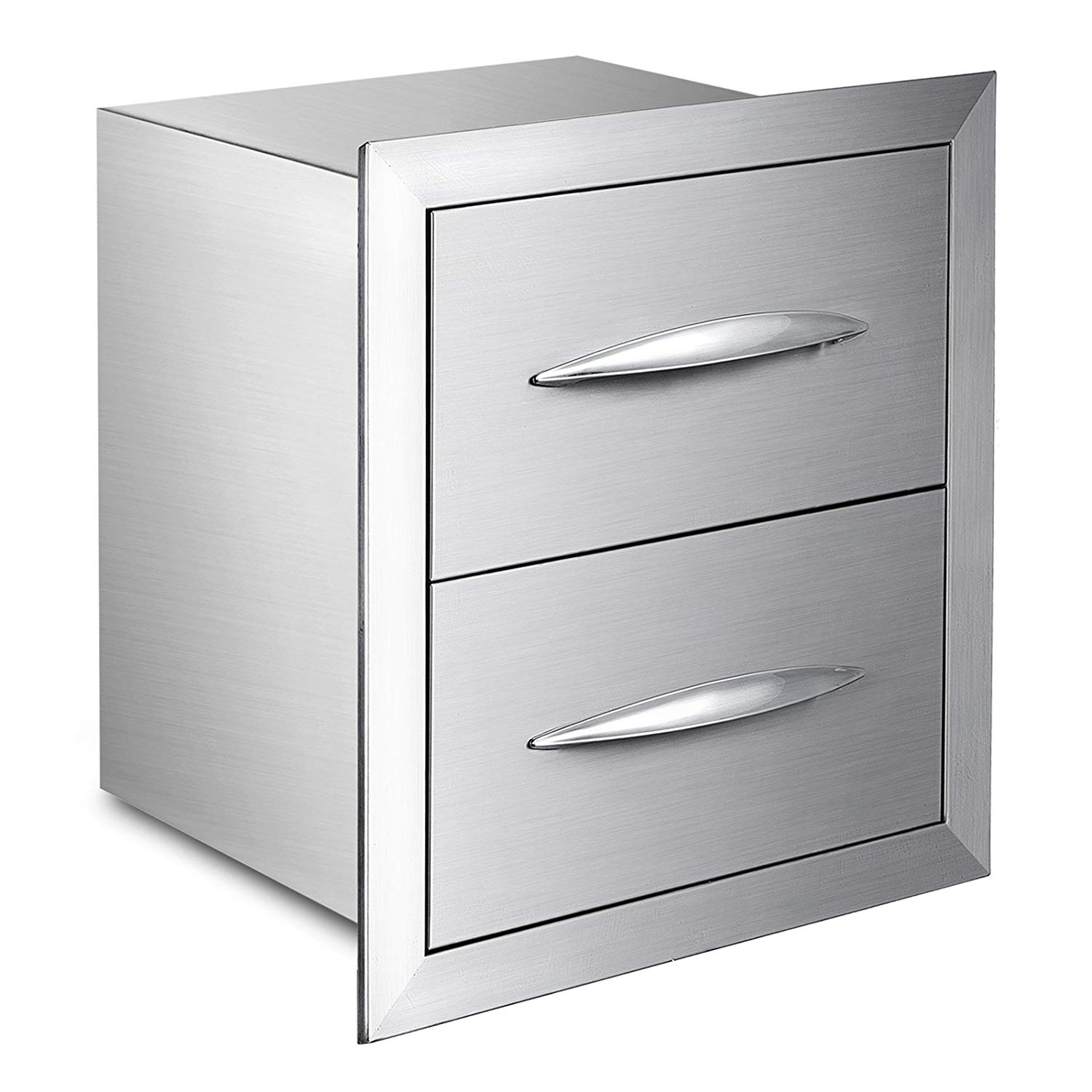 """Mophorn Outdoor Kitchen Drawer Stainless Steel BBQ Island Drawer Storage with Chrome Handle Double Access Drawer Flush Mount Sliver Double Access Drawer (18""""x15"""", Double Access Drawer)"""