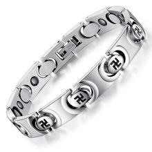 Wide Mens Chain Biker Motorcycle Link blood pressure Swastika bracelet bangles 316L Stainless Steel Bracelet Gift