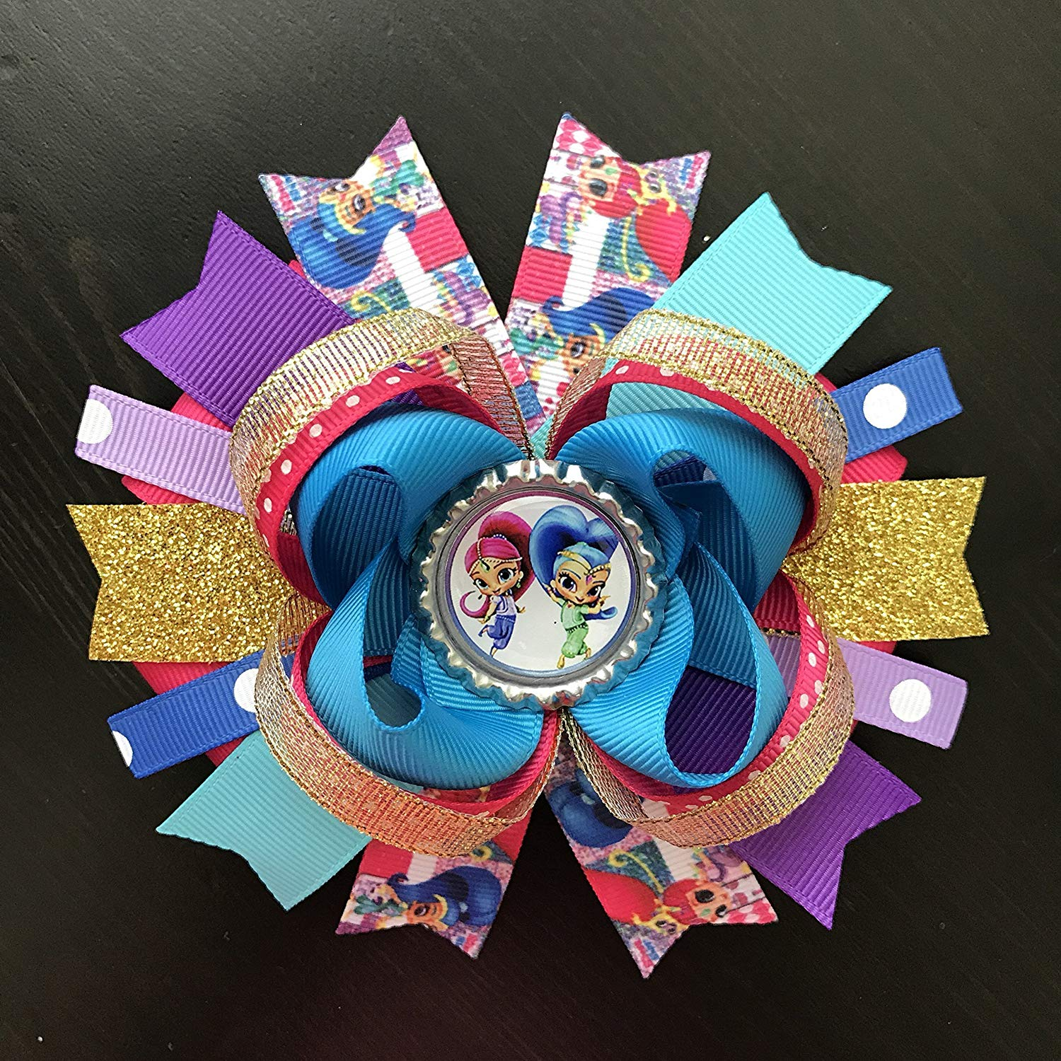 cbc100ef0 Get Quotations · Shimmer And Shine Hair Bow, Handmade Large Shimmer And  Shine Hair Bow, Shimmer And