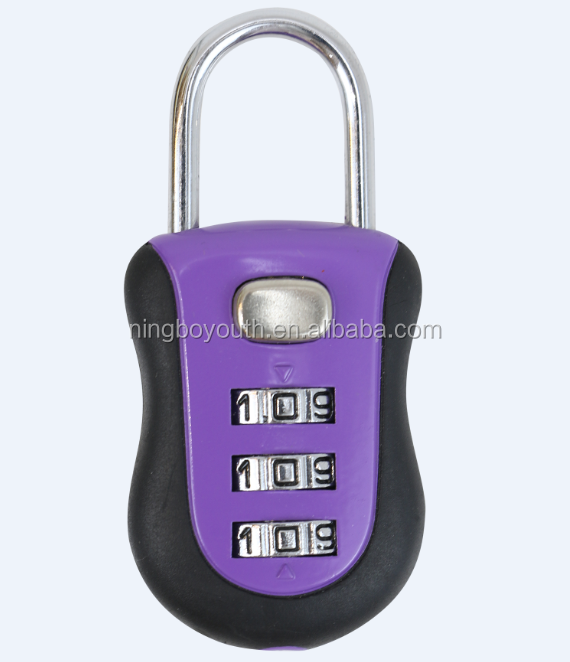 TA60219 All Weather Chrome 3-Dial Resettable Combination Luggage and Travel Padlock in Assorted Colors Smart Lock Mini Lock