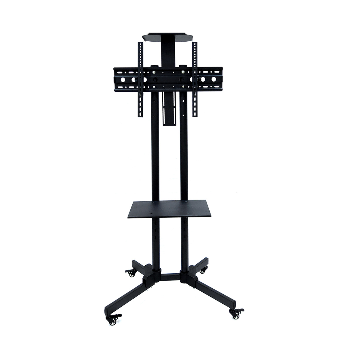 Modern Movable LCD Plasma TV Trolley Stand Designs / Floor Mount Mobile Metal Iron TV Stand With Wheels