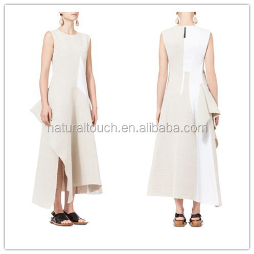 New fashion pattern cotton linen blend loose fit asymmetric casual dress