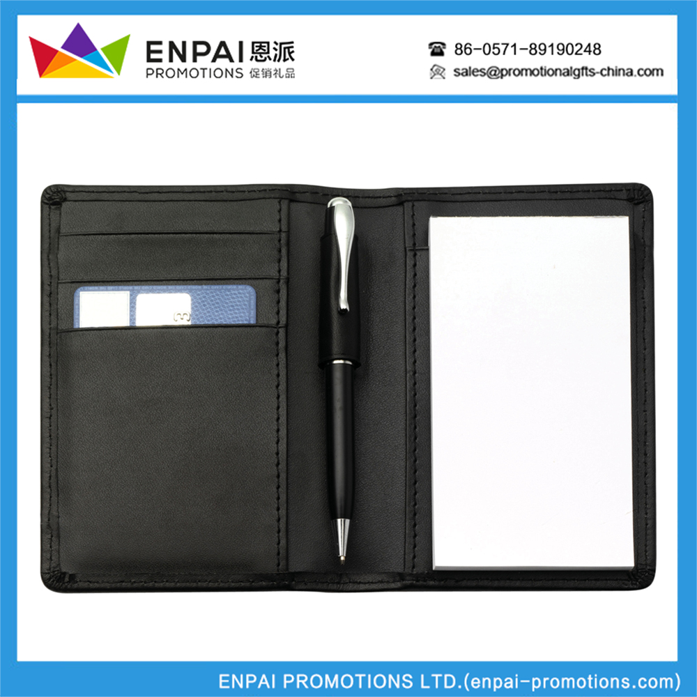 Multifunctional giveaways Notepad with a slip pocket and a pen