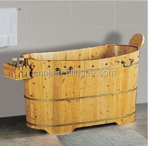 Freestanding wooden barrel bath shower hot tub