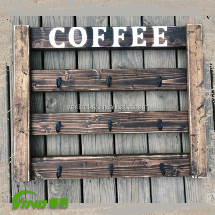 Coffee Cups Holder Wooden Mug Rack Wall Mounted