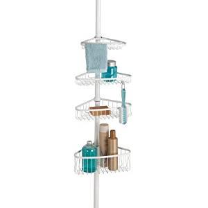 InterDesign York Bathroom Constant Tension Corner Shower Caddy for Shampoo, Conditioner, Soap -Pearl White by InterDesign