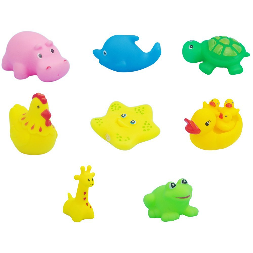 Buy Baby Toys, OBOSOE Baby Bath Toys Wash Play Animals Soft Rubber ...