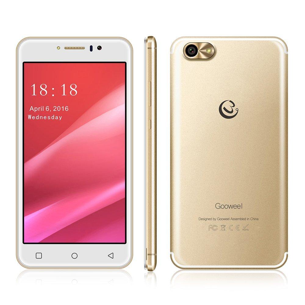 Gooweel M7 3G cell phone 5.5 inch IPS screen MTK6580 quad core smartphone GPS 1GB RAM 8GB ROM WCDMA mobile phone 8.0MP Camera (Gold)
