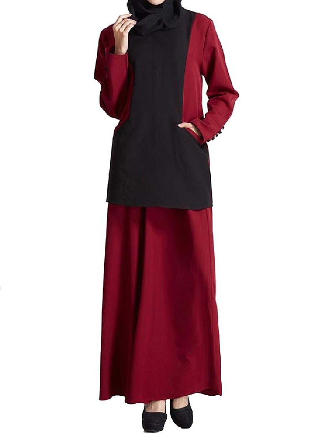 Zimaes-Women Muslim Two-Piece Suit Pockets Hit Color Slim Long Dress