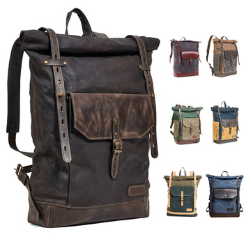 ca2144ad1 smell-proof school rolltop backpack with carbon lining Waxed Canvas leather  roll top