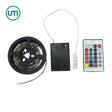50-200cm Waterproof 4.5V 5050 RGB LED Strip Light Battery Powered + 24key Remote