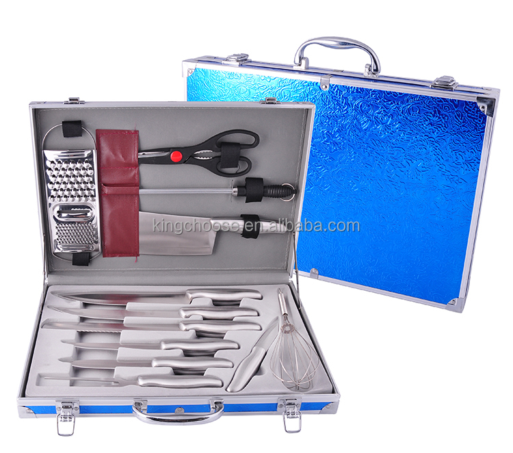 24PCS High quality stainless steel knife with aluminum case