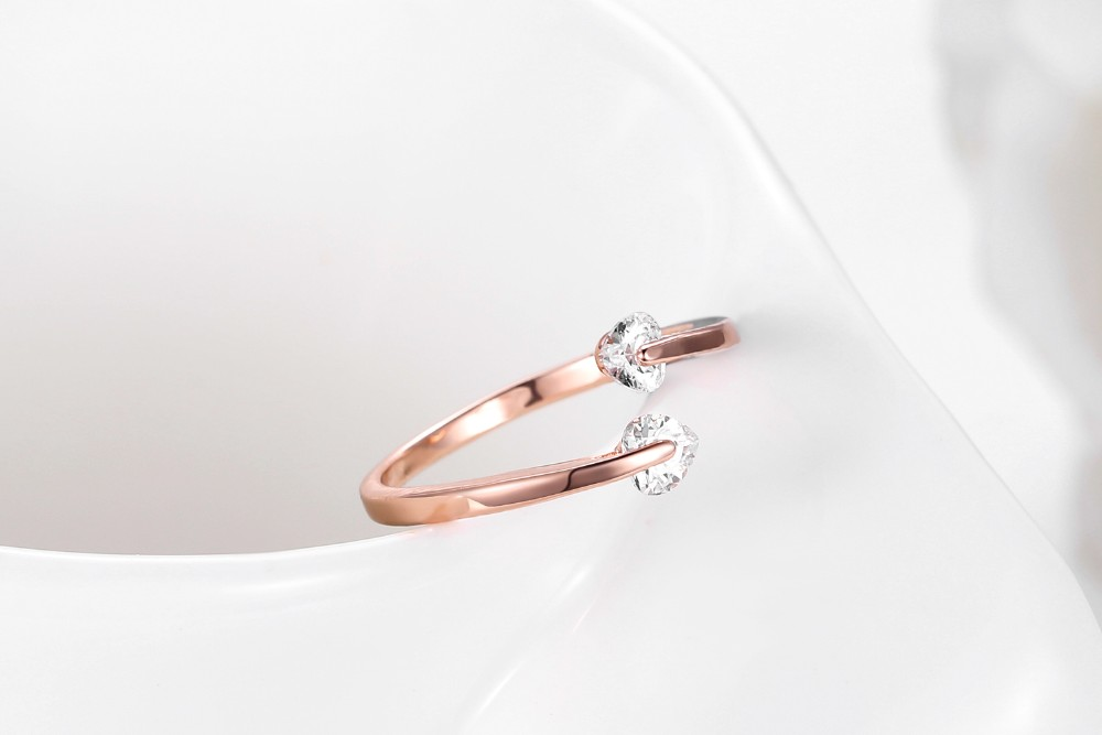2018 The new super flash double zircon ring female love Rose gold/silver CZ heart wedding ring