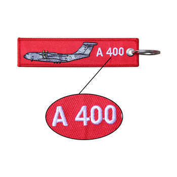 Custom Design Keychain Embroidered Brand Name Logo  A 400 Aviation Embroidered Keychain