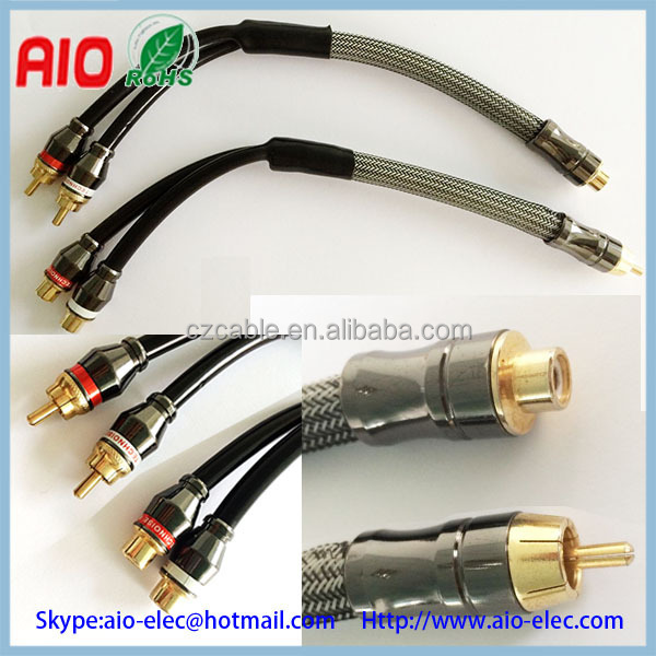 Hi-Fi audiophile high-end RCA couple male plug to female jack convertor adaptor cable for Car audio modification