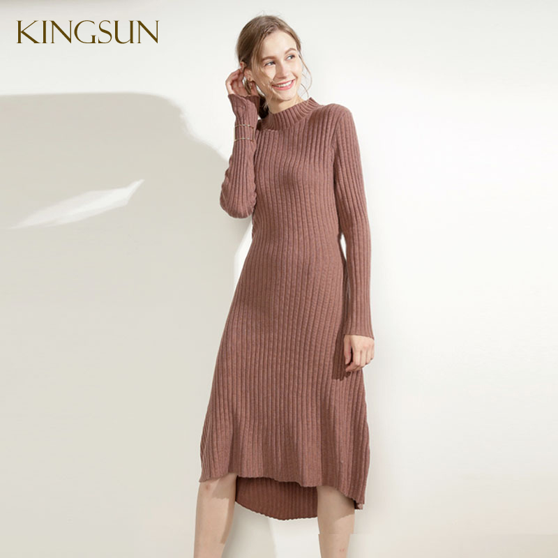 Hot Jual Wanita Merajut Gaun, 100% Wol Sweater, Fashion Terbaru Knit Dress