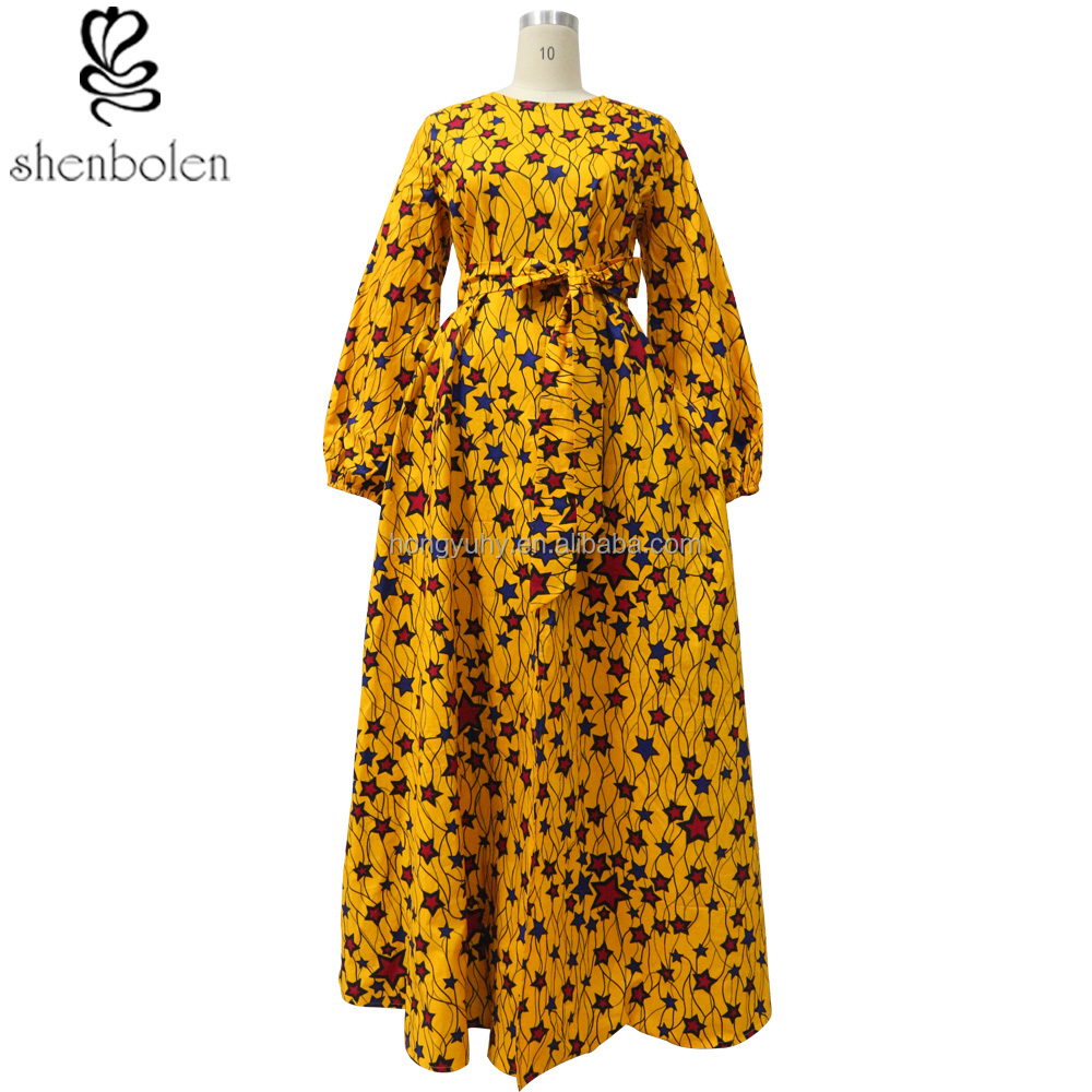 The traditional African kitenge dress designs wax cotton ladies gown with lining