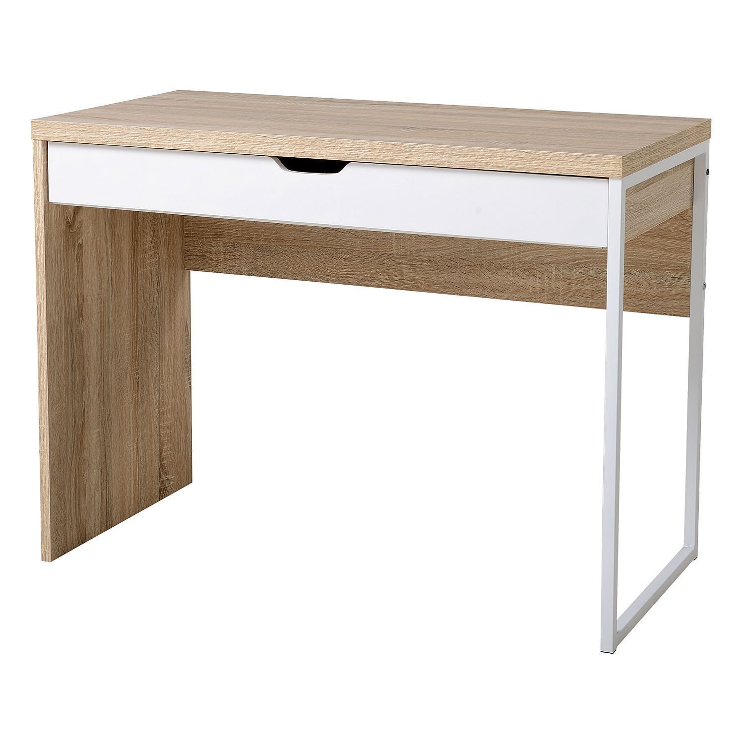 GHP Particle Board & Steel Oak & White Computer PC Laptop Workstation with Drawer