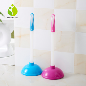 Best pink colored plastic rubber toilet plunger with holder