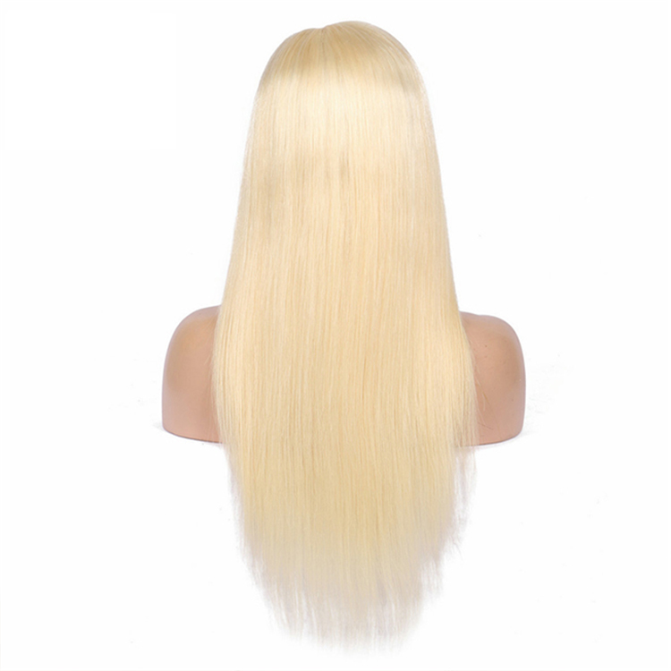 Wholesale best quality virgin human hair natural hairline bleached knots blonde 613 silky straight 360 lace frontal wig