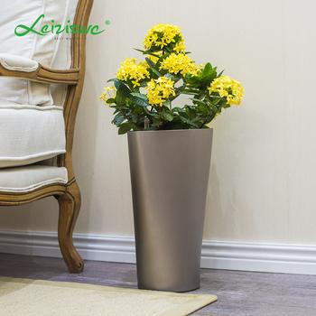 White Triangle Flower Pot Plastic Houseplants Modern Vases