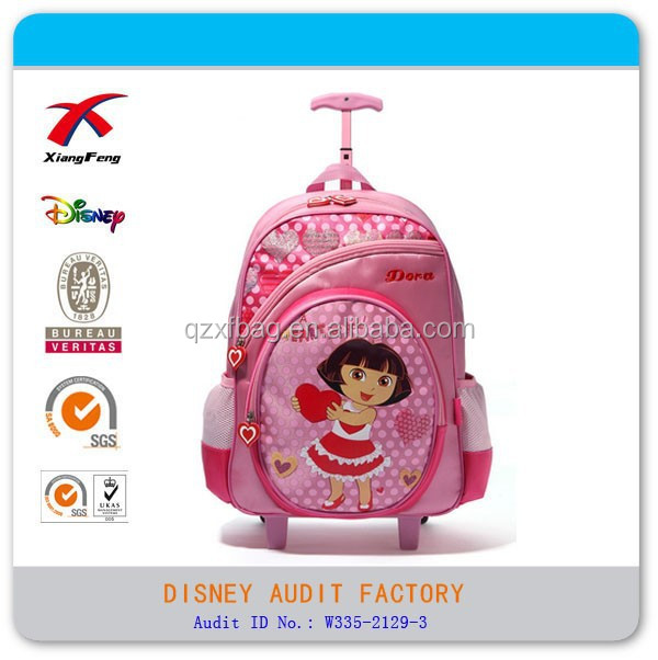 XF 2015 cute dora kids trolley school bag