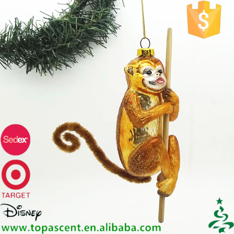 Hand painted blown glass animal monkey ornaments for christmas decorations made in China