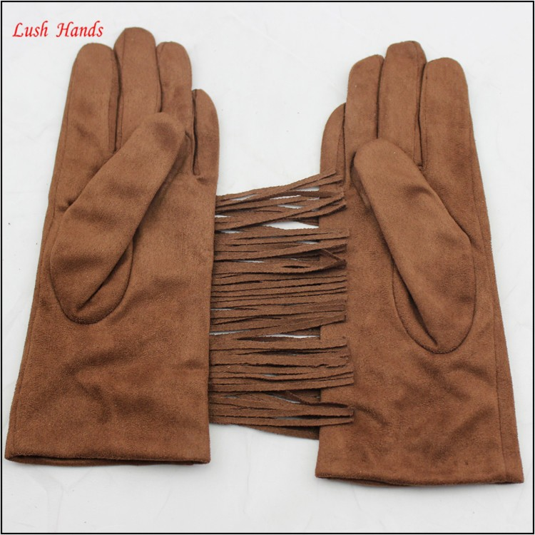 ladies brown tassel suede leather hand gloves with factory price