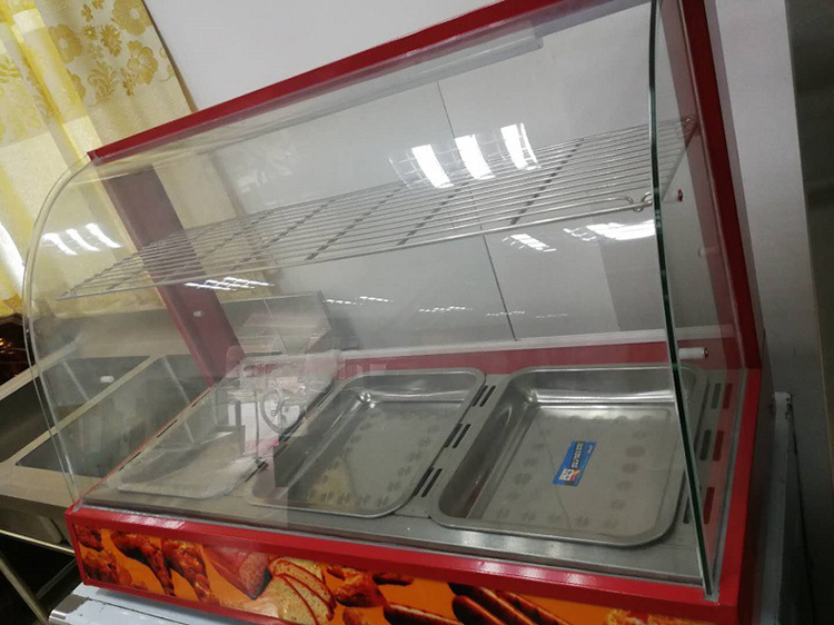 Electric Glass Warming Showcase Temperature 30~85 Degrees Glass Food Warmer Display Showcase