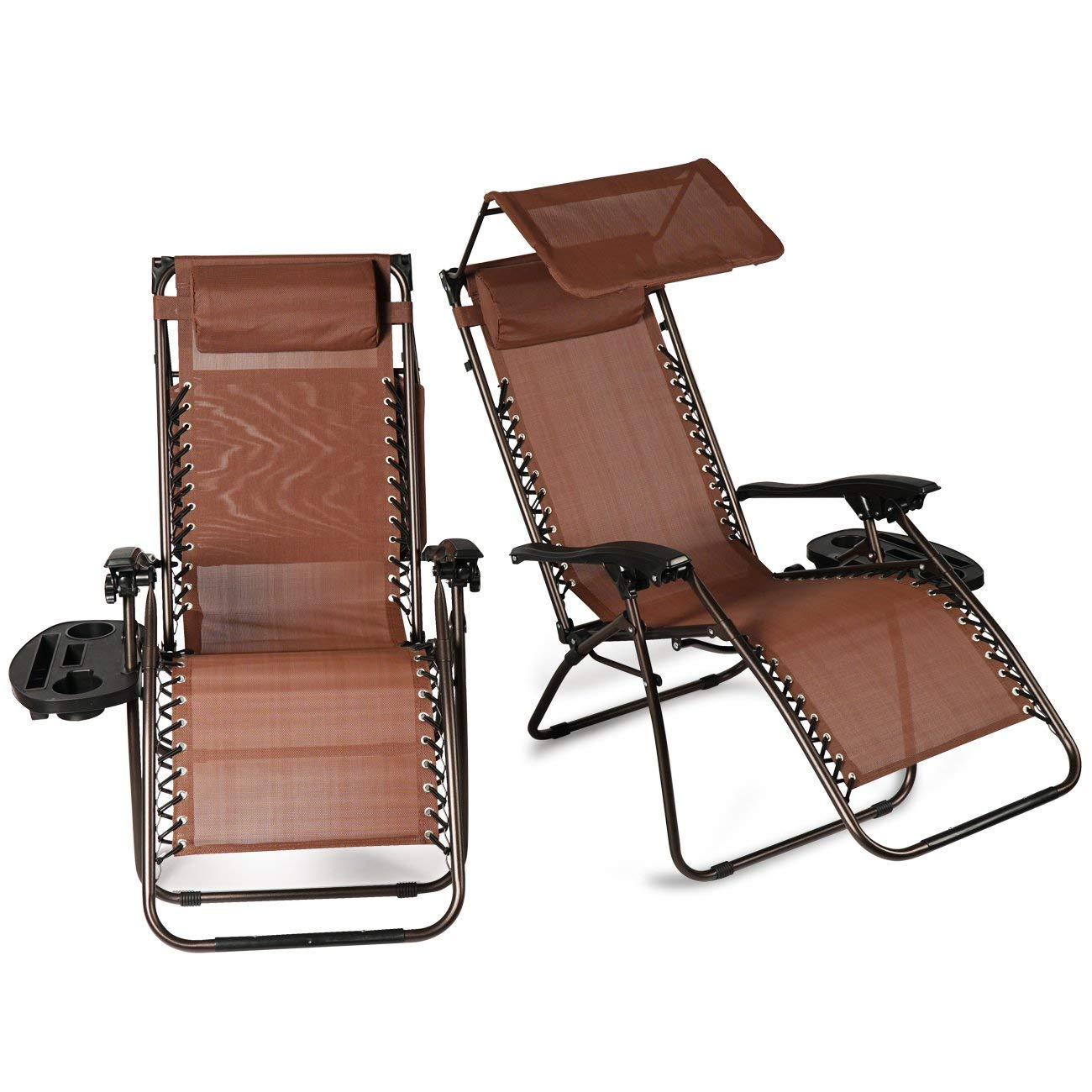 Get Quotations · OttersOutlet Set Of Zero Gravity Chair Lounge Patio  Folding W/Canopy Cup Holder (BROWN
