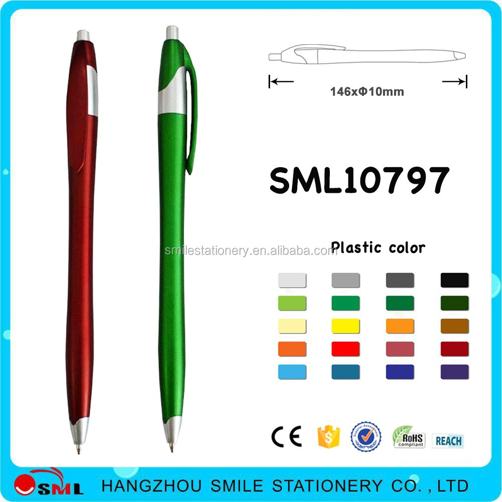 Fashionable click action pens javelin shape with logo