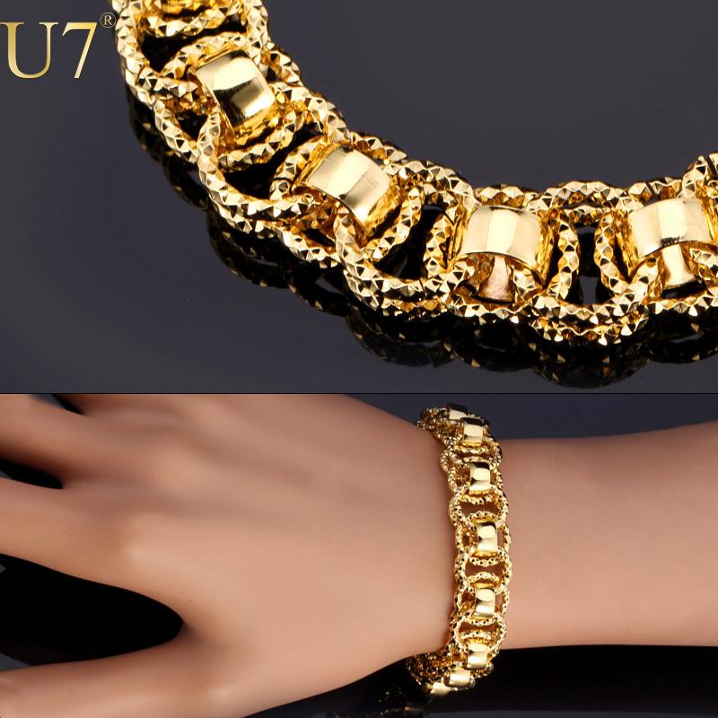 U7 Chain Bracelet With Trendy Gold Plated 21cm Unique Round Link Bracelets Men Jewelry H489