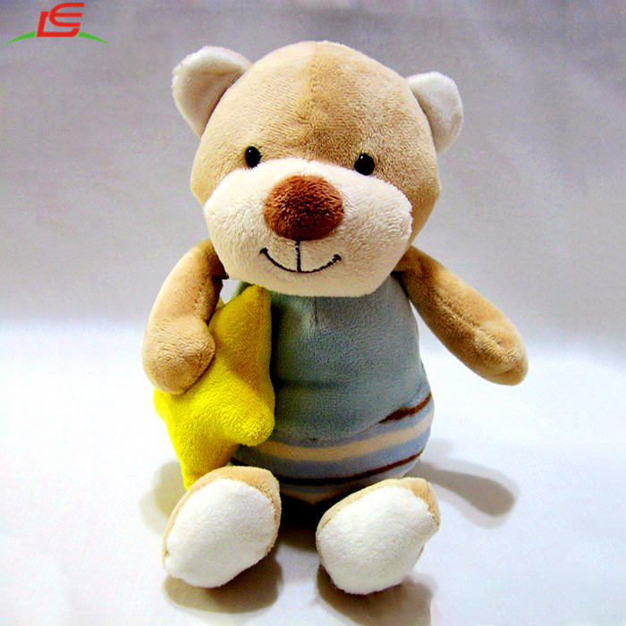 Soft Plush Toy Holding Yellow Stuffed Star Teddy Bear With Blue Suit